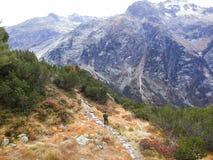 Viaggiatore che cammina sulla montagna in autunno Fotografia Stock