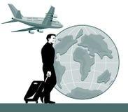 Viaggiatore con il globo dell'aeroplano Fotografia Stock Libera da Diritti