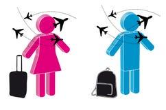 Viaggiatore con l'aereo ed il bagaglio Immagini Stock Libere da Diritti