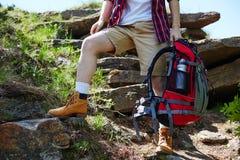 Viaggiatore con lo zaino Fotografia Stock
