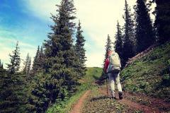 Viaggiatore con zaino e sacco a pelo che fa un'escursione sulla bella traccia del picco di montagna Fotografie Stock