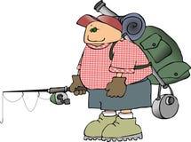 Viaggiatore con zaino e sacco a pelo con A canna da pesca royalty illustrazione gratis