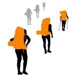 Viaggiatore con zaino e sacco a pelo di vettore Fotografia Stock