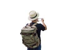 Viaggiatore con zaino e sacco a pelo di viaggio dell'uomo asiatico Fotografie Stock Libere da Diritti