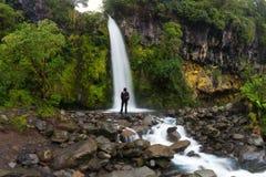 Viaggiatore con zaino e sacco a pelo felice dell'uomo che gode stupendo cascata tropicale in Nuova Zelanda Stile di vita di viagg fotografia stock libera da diritti