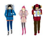 Viaggiatore con zaino e sacco a pelo isolato su backgrpund bianco illustrazione vettoriale