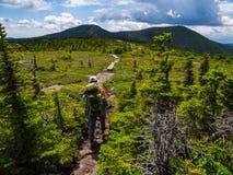Viaggiatore con zaino e sacco a pelo sulla traccia appalachiana in Maine Mountains, gamma di Mahoosuc fotografia stock