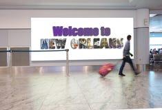 Viaggiatore dell'aeroporto di New Orleans Fotografia Stock