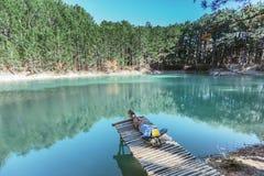 Viaggiatore dell'uomo che cammina da solo al lago blu in legno fotografia stock