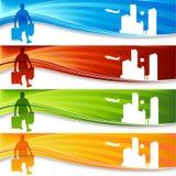 Viaggiatore dell'uomo dei bagagli della bandiera royalty illustrazione gratis