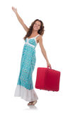 Viaggiatore della donna con la valigia isolata Fotografia Stock