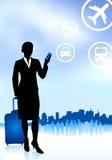 Viaggiatore della donna di affari con bagagli Immagini Stock Libere da Diritti