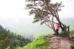 Viaggiatore della giovane donna con lo zaino che fa un'escursione in montagne con il damerino Immagine Stock