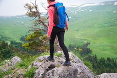 Viaggiatore della giovane donna con lo zaino che fa un'escursione in montagne con il damerino Fotografie Stock