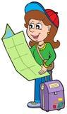 Viaggiatore della ragazza del fumetto Fotografie Stock Libere da Diritti