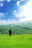 Viaggiatore e natura Fotografia Stock