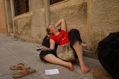 Viaggiatore faticoso Fotografia Stock Libera da Diritti