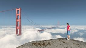 Viaggiatore intorno al mondo e golden gate bridge a San Francisco illustrazione vettoriale