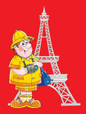 Viaggiatore a Parigi illustrazione vettoriale