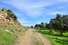Viaggiatore solo su una collina antica Immagini Stock