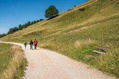 Viaggiatori che camminano su una traccia in montagne delle dolomia, Tyrolo del sud, Italia Fotografia Stock Libera da Diritti