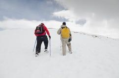 Viaggiatori con zaino e sacco a pelo in Colorado Immagini Stock