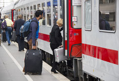 Viaggiatori del treno in Germania Fotografie Stock Libere da Diritti