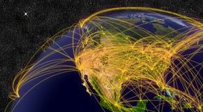 Viaggio æreo in Nord America Immagini Stock