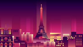 Viaggio al neon del paese della città delle costruzioni di architettura di stile di notte della città della Francia Immagini Stock Libere da Diritti