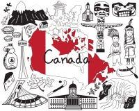 Viaggio all'icona del disegno di scarabocchio del Canada Immagine Stock Libera da Diritti