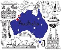 Viaggio all'icona del disegno di scarabocchio dell'Australia Immagini Stock Libere da Diritti