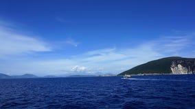 In viaggio alla spiaggia di fama mondiale di Oporto Katsiki, isola di Leucade, Grecia fotografia stock libera da diritti