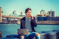 Viaggio americano dello studente di college, lavorante a New York Fotografia Stock Libera da Diritti