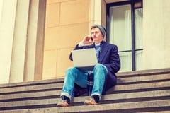 Viaggio americano dello studente di college, lavorante a New York Immagini Stock