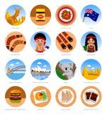 Viaggio in Australia Insieme dei simboli culturali tradizionali, cucina, architettura illustrazione vettoriale