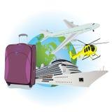 Viaggio, bagagli, fodera di crociera, elicottero, aeroplano, illustrazione piana di vettore, apps, insegna Fotografia Stock