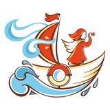 Viaggio in barca arancio Immagini Stock