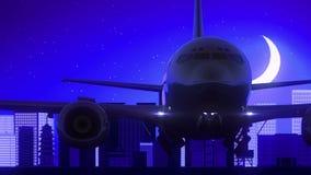 Viaggio blu dell'orizzonte di notte della luna di Osaka Japan Airplane Take Off royalty illustrazione gratis