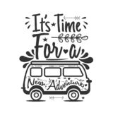 Viaggio che segna citazione con lettere It' tempo di s per una nuova avventura illustrazione di stock