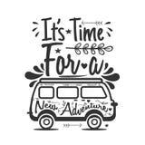Viaggio che segna citazione con lettere It' tempo di s per una nuova avventura royalty illustrazione gratis