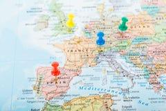Viaggio dei perni della mappa di Europa Fotografia Stock Libera da Diritti