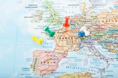 Viaggio dei perni della mappa di Europa Fotografia Stock