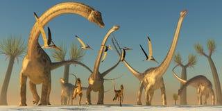 Viaggio del dinosauro del Diplodocus Immagini Stock