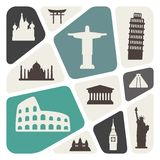 Viaggio del fondo, vacanza, posti famosi illustrazione di stock