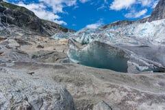 Viaggio del ghiacciaio nel viaggio di estate della Norvegia Fotografia Stock