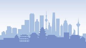 Viaggio del paese della città della città delle costruzioni di architettura della siluetta della Cina Fotografie Stock Libere da Diritti