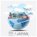Viaggio del punto di riferimento del Giappone e viaggio globali Infographic Fotografia Stock Libera da Diritti