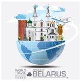 Viaggio del punto di riferimento della Repubblica Bielorussa e viaggio globali Infograph illustrazione di stock