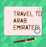 Viaggio del testo della scrittura agli emirati arabi Il significato di concetto ha un viaggio al Medio Oriente conosce altre cult illustrazione vettoriale