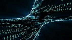 Viaggio del tunnel di dati Fondo di animazione Trasmissione di informazioni digitali come segnale binario illustrazione di stock